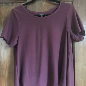 Topshop magenta shirt scalloped bottom